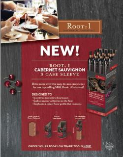 Root: 1 Cabernet Sauvignon Case Sleeve Sell Sheet with Merch Incentive