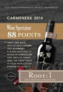 Root:1 Carmenere 2014 - Wine Spectator 88 pts Shelf Talker