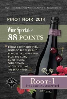 Root:1 Pinot Noir 2014 - Wine Spectator 88 pts Shelf Talker