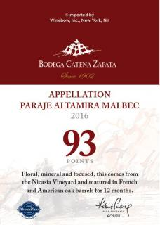 Appellation Paraje Altamira Malbec 2016 93 Pts. WA Talker