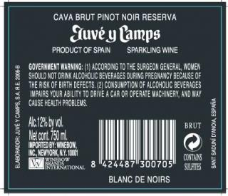 Juve & Camps Blanc de Noirs Back Label