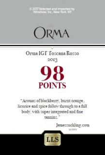Orma Toscana Rosso 2013 Shelf Talker 98pts JS