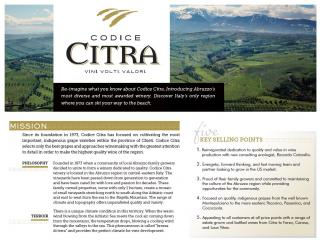 Codice Citra Brand Sheet (All Brands)