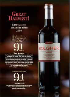 Bolgheri Rosso 2016 premi Acclaim Sell Sheet
